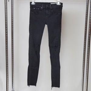 Rag & Bone Skinny Cut Off Raw Hem Jeans 26x27